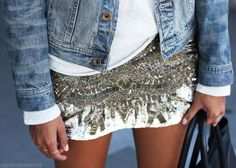 Ugh, that skirt?  I die.  I love the juxtaposition of the super casual denim jacket white tee with the heavily embellished and amazing mini.  Love.