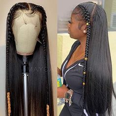 Long Black Hair, Braids For Black Hair, Wavy Hair, Frontal Hairstyles, Baddie Hairstyles, Real Hair Wigs, Human Hair Wigs, Hair Ponytail Styles, Curly Hair Styles