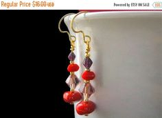 EASTER SALE Red Hat Ladies Beaded Earrings in Red and Purple - Rolling Stones. Handmade Earrings. by Gilliauna from Bits n Beads by Gilliauna. Find it now at http://ift.tt/1ZwPvBK!
