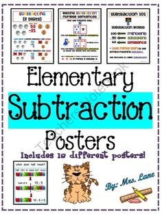 Elementary Subtraction Posters (Includes 18 Different Posters!) from Mrs Lane on TeachersNotebook.com (20 pages)  - Looking for elementary education posters relating to subtraction skills? This product contains 18 different subtraction-related posters that can be used to enhance your lessons! These educational and colorful posters can be used as teaching aids, handouts
