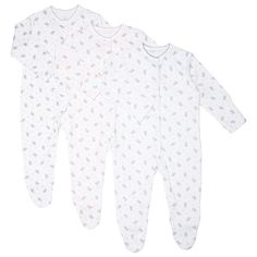 BuyJohn Lewis Baby Ditsy Floral Sleepsuits, Pack of 3, White/Multi, Tiny baby Online at johnlewis.com