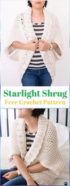 Crochet Starlight Shrug Free Pattern - Crochet Women Shrug Cardigan Free Pattern