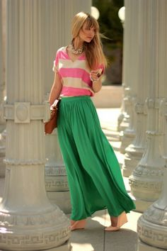Pink striped shirt long green skirt. Way cute but idk if i can pull this one off lol.