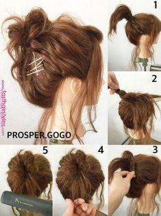 Attention to the hair arrangement of super fashionable ♡ YUKO KAWANO even though it is super easy - Today Pin Messy Bun Hairstyles, Fast Hairstyles, Pretty Hairstyles, Wedding Hairstyles, Medium Hair Styles, Curly Hair Styles, Hair Arrange, Pinterest Hair, Hair Hacks