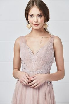 5e2cc472e3 Watters 5602 Harlynn is a sleeveless floor length Aria Lace bridesmaid dress  with a V neckline and gathered skirt.