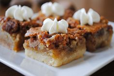 Pecan Pie Bars. Really good! The crust was perfect and it was SO easy to make. I will DEFINITELY be making these again. :)