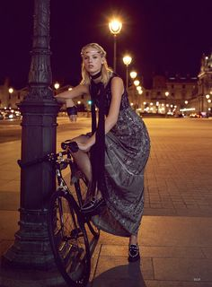 Charlene Hogger takes Paris in haute couture for Elle US January 2016 by David Burton [fashion] Bicycle Women, Bicycle Girl, Crepe Dress, Silk Crepe, Beauty Editorial, Editorial Fashion, Car Editorial, David Burton, Dark Beauty Magazine
