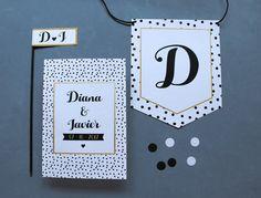 Invitacion de bodas blanca, negra y con lunares. Diseño de invitaciones de bodas y banners.