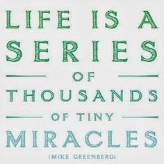 Life is a series of thousands of tiny miracles. Find your miracle today!