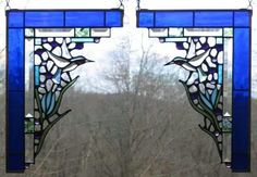 Stained glass corner pair