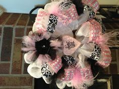 Deco mesh wreath- pink and black baby shower