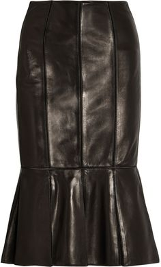 Alexander McQueen Laser-cut pleated leather skirt