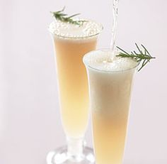 A Diamond Fizz is a Gin Fizz made with Champagne instead of club soda. This drink is sweetened with rosemary-infused simple syrup.
