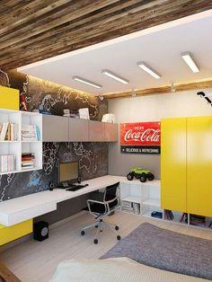Study Table Designs, Tv Stand Designs, Study Room Design, Boys Room Design, Kids Bedroom Designs, Pop Ceiling Design, Ideas Para Organizar, Boy Decor, Teenager