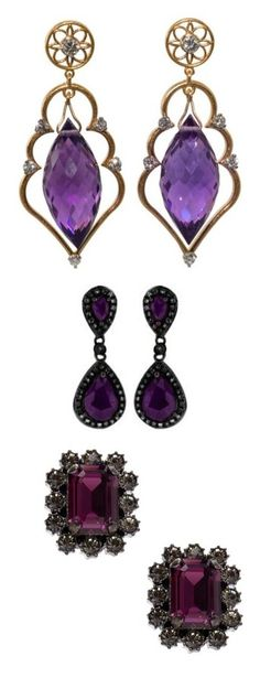 """Earrings 2 Princess, Queen, Lady (Game of Thrones Style)"" by doratemplam ❤ liked on Polyvore featuring jewelry, earrings, accessories, purple, drop earrings, gold earrings, amethyst drop earrings, purple amethyst earrings, amethyst earrings and 18k yellow gold earrings"