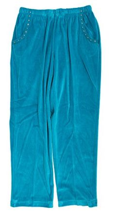 54a7829fdc Alfred Dunner Adirondack Trail Velour Pants Peacock 22W S * Find out more  about the great