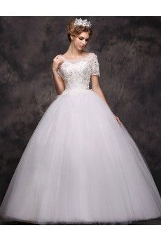 Lace Scoop Floor Length Short Sleeve Ball Gown Dress with Sequins, Beads