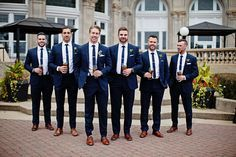 Ideas for wedding party attire fall groomsmen Bridesmaids And Groomsmen, Wedding Bridesmaids, Navy Suits Groomsmen, Bridesmaid Ideas, Brown Groomsmen, Groomsmen Outfits, Navy Bridal Parties, Navy Party, Dream Wedding