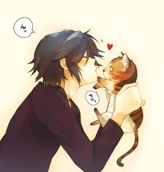 Anime boy and kitty!! The cats eyes freak me out a bit... But this is so cute!