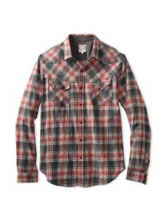 60% OFF BTNS Men\'s Flannel Shirt (Red)