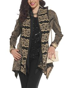 Tesoro Moda Black & Gold Lace Blazer - Women & Plus | Lace blazer ...