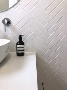 The Bronte subway tile adds beautiful texture to neutral spaces! Shop online for a sample today and receive them to your door within 5 days - to match up at home. Loft Bathroom, Bathroom Inspo, Bathroom Renos, Laundry In Bathroom, Bathroom Ideas, Bathroom Inspiration, Concrete Look Tile, Blue Subway Tile, White Tiles