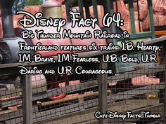 #64 - Big thunder Mountain Railroad in Frontierland features 6 trains:  I.B.Hearty, I.M. Brave, I.M. Fearless, U.B. Bold, U.R. Daring, and U.R. Courageous