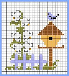 Free sewing pattern graph for cross stitch or plastic canvas. Cross Stitch House, Cross Stitch Boards, Mini Cross Stitch, Cross Stitch Alphabet, Cross Stitch Animals, Cross Stitching, Cross Stitch Embroidery, Embroidery Patterns, Hand Embroidery
