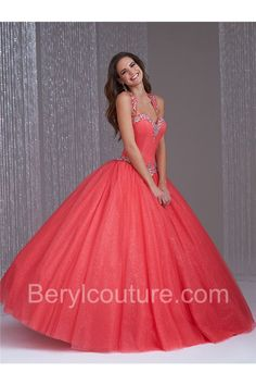 3bcf78d5fb28 Ball Gown Cut Out Open Back Coral Tulle Beaded Quinceanera Prom Dress