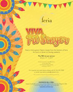 Savor a feast featuring the best of well-loved Filipino recipes from the kitchens of Feria for lunch or dinner on Sinulog weekend for only Php 980 net per person inclusive of access to the BBQ dinner at the Urban Table and Fireworks Display viewing on January 14 & 15.   Reserve your table now! Please call (63 32) 402 9900 or email reservations.cebu@radisson.com today. Viva Pit Senyor!