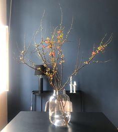 Interior Styling, Interior Design, Dark Walls, Winter, Glass Vase, Instagram, Projects, Home Decor, Branches