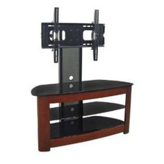 Father's day gift:Walker Edison TV Stand with Removable Mount, Cherry/Black Contemporary Entertainment Center, Entertainment Centers, Swivel Tv Stand, Tv Stand With Mount, Tv Accessories, Black Shelves, Cool Tv Stands, Safety Glass, Decorating Tips