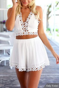 Plunge Hollow Out Halter Top & Mini Shorts Co-ord - US$19.95 -YOINS