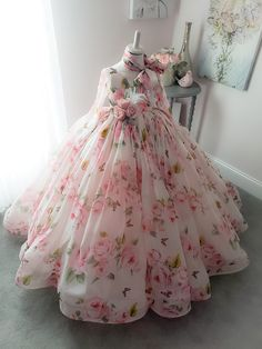 Rosy Gown by Anna Triant Couture Frocks For Girls, Gowns For Girls, Wedding Dresses For Girls, Dresses Kids Girl, Flower Girl Dresses, Baby Gown Design, Girls Frock Design, Kids Frocks Design, Baby Girl Dress Patterns
