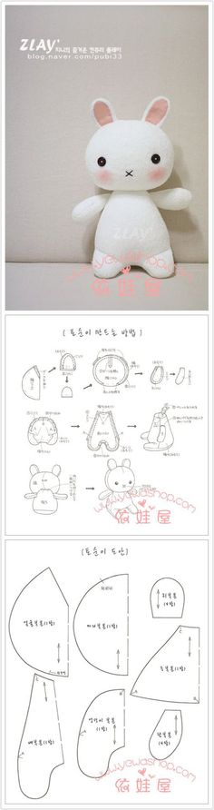 Sewn bunny pattern. Love the shape! Could easily be done in knit or crochet, too!! 兔子