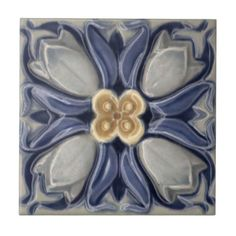 """Historical antique tile reproduced on a smooth surface 4.25"""" or 6"""" ceramic tile."""