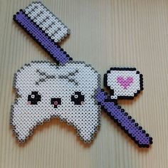 Kawaii tooth hama beads - Bathroom decor by perlersystrar - Pattern: https://de.pinterest.com/pin/374291419012543312/