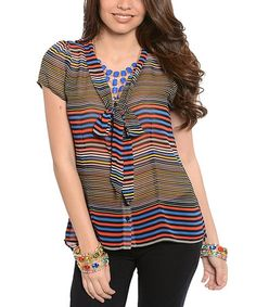 Another great find on #zulily! Blue & Red Stripe Tie-Front Button-Up Top #zulilyfinds