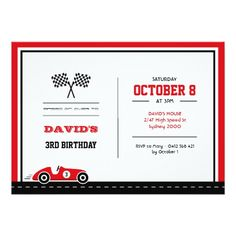 Car Race Birthday Invitation