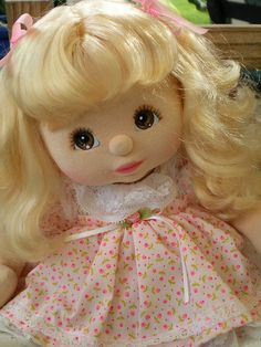 My Child Doll - I never liked dolls when I was little but I had one of these (same hair/eyes but she wore red footie jammies) and I LOVED her!