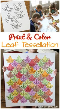 Leaf Tessellation Collaborative STEM Art Project - fun fall STEM activity! Great to do at home, or with a class.