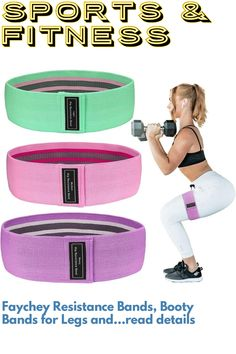 (This is an affiliate pin) Faychey Resistance Bands, Booty Bands for Legs and Butt Exercise Bands Set Non Slip Hip Workout Bands for Women Sports-Fitness Bands Stretch Resistance Loops Band Men