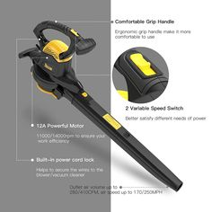 Leaf Blower Vacuum, TECCPO 12-Amp 250MPH 410CFM 3 in 1 Corded Electric Two-Speed Professional Sweeper/Vac/Mulcher with Powerful Motor and Metal Blade - TABV01G Garden Power Tools, Leaf Blower, Electric Motor, Vacuums, Lawn And Garden, Outdoor Power Equipment, Blade, Cord, Amp