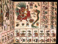 Pre-Columbian, Aztec Codex Borbonicus, 'Tonalamatl', detail depicting Quetzalcoatl and Tezcatlipoca.