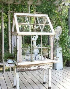 HOME DECOR HOW TO REUSE OLD WINDOWS: Make a glasshouse. If you have few old windows, you can build a glasshouse for the garden. On one of the windows add hinges and turn them into doors.