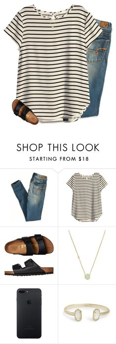 """""""why ya keep playin with my heart?"""" by preppin ❤ liked on Polyvore featuring American Eagle Outfitters, H&M, Birkenstock, Cole Haan and Kendra Scott"""
