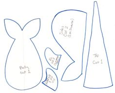 45 Free Printable Sewing Patterns Whale Plush Pattern by Metacharis.devian… on – this is the pattern for Bubbles. Make tail narrowing narrower and the top piece wider. Free Printable Sewing Patterns, Animal Sewing Patterns, Free Sewing, Doll Patterns, Pattern Sewing, Design Patterns, Craft Patterns, Sewing Toys, Sewing Crafts