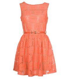 Orange Daisy Lace Dress