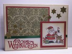 zauberhafte Weihnachtskarte mit Motiv von Laurie Furnell, Yvonne Creations Stanzform 'Frohe Weihnachten', Layer von Spellbinders und Gummiapan