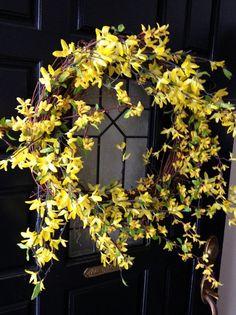 Spring Forsythia Wreath Summer Wreath by BlessMyNestShop on Etsy